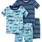 4-Piece Neon Planes Snug Fit Cotton PJs