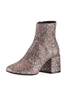 MM6 Maison Martin Margiela Glittered Zip-Up Ankle
