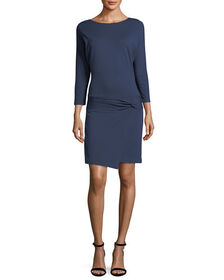 Halston Heritage 3/4-Sleeve Dress with Tie Detail