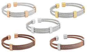 Edforce Men's Stainless Steel Cable Wire Cuff Brac
