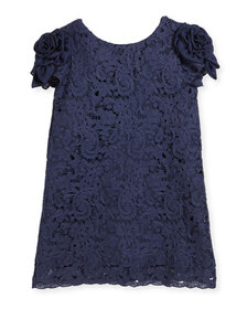 Charabia Daria Lace Dress w/ Rosette Sleeves, Size