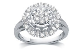 1/2 CTTW Diamond Sunflower Shaped Ring in Sterling