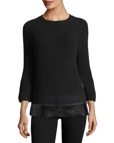 Moncler Crewneck Bell-Sleeve Ribbed Wool-Cashmere