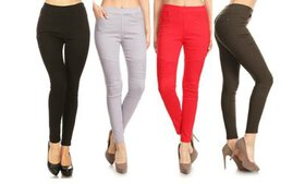 Women's Pleated Stretch Skinny Biker Jeggings