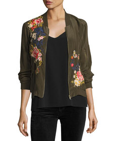 Johnny Was Lucy Crepe de Chine Bomber Jacket, Peti