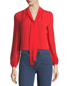 Tory Burch Emma Self-Tie Bow Blouse