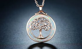 Tree Of Life Necklace in Fire Opal and Rose Gold P