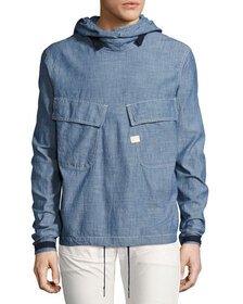 G-Star Chambray PW Hooded Pullover, Blue