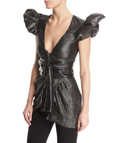 Redemption Metallic Puff-Sleeve Jacquard Dress