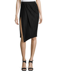 Thierry Mugler Plissé Paneled Side-Slit Skirt