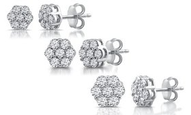 1/4–1.00 CTTW Diamond Flower Earrings in Sterling