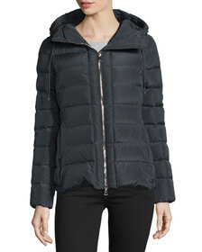 Moncler Idrial Hooded Short Puffer Jacket, Charcoa