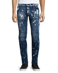 G-Star Paint-Splatter Denim Moto Jeans, Extreme Pa