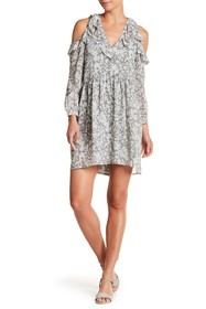 Lucky Brand Cold Shoulder Ruffle Printed Dress