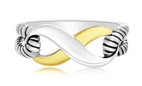 Nina & Grace Tri-Color Infinity Ring
