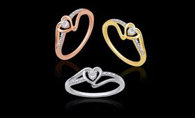 18K Gold Plated Diamond Accent Heart Ring in Sterl