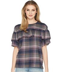 Tahari by ASL Plaid Top with Ruffle Overlay