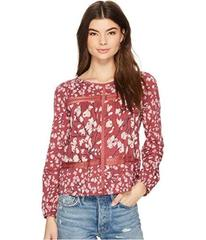 Lucky Brand Printed Lace Insert Top