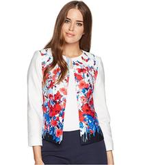 Tahari by ASL Printed Poplin Open Front Jacket