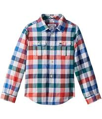 Lacoste Kids Long Sleeve Poplin Blue and Red Check