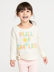 French Terry Tie-Hem Sweatshirt for Toddler Girls