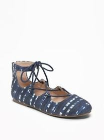Printed Indigo Lace-Up Flats for Girls