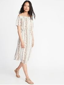 Off-the-Shoulder Waist-Defined Midi Dress for Wome