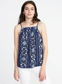 Sleeveless Smocked Swing Top for Women