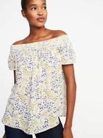 Relaxed Floral Off-the-Shoulder Top for Women