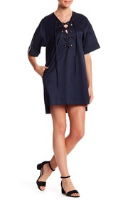 Kendall & Kylie Lace-Up Shift Dress