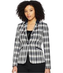 Tahari by ASL Plaid One-Button Jacket with Solid P