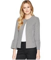 Tahari by ASL Gingham Textured Jacket with Tulip S