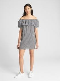 Print Off-Shoulder Ruffle Cover-Up