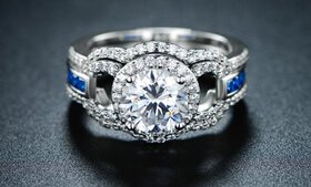 Lab-Created Sapphire and Cubic Zirconia Halo Ring
