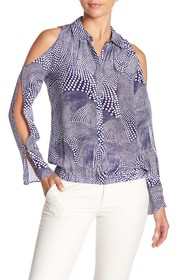 Ramy Brook Hazel Cold Shoulder Print Blouse