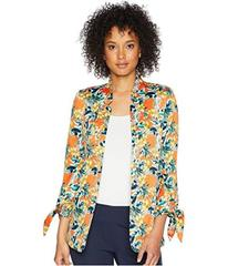 Tahari by ASL Printed Satin Tie Sleeve Jacket