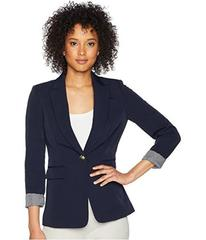 Tahari by ASL Twill One-Button Roll Cuff Jacket