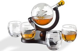 Crystal Globe Whiskey Decanter Set (1-, 3-, and 5-