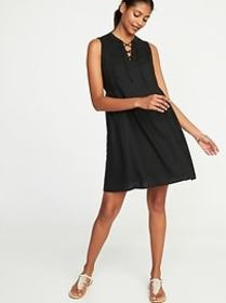 Lace-Up Sleeveless Swing Dress for Women