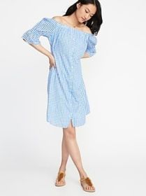 Off-the-Shoulder Button-Front Gingham Dress for Wo
