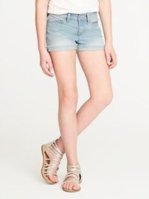 Rolled-Cuff Jean Cut-Off Shorts for Girls