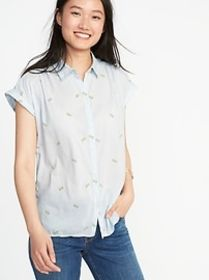 Relaxed Button-Front Shirt for Women
