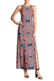 London Times Tile Slit Front Maxi Dress