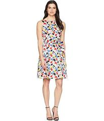 Anne Klein Multi Floral Cotton Fit and Flare Dress