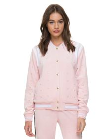 Juicy Couture Velour Faux Pearl Embellished Bomber