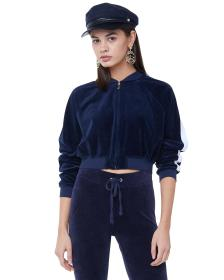 Juicy Couture VELOUR STRIPED SLEEVE CROPPED BOMBER