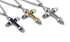"""Men's Stainless Steel Cross 24"""" Curb Chain Necklac"""