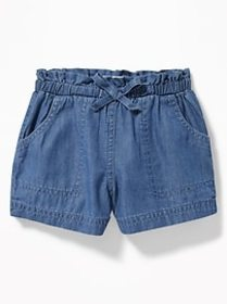 Chambray Utility Shorts for Toddler Girls