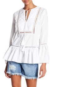 Seven7 Tie Neck Bell Sleeve Blouse