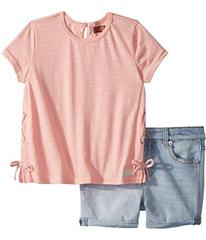 7 For All Mankind Kids Peach Tee and Shorts Set (T